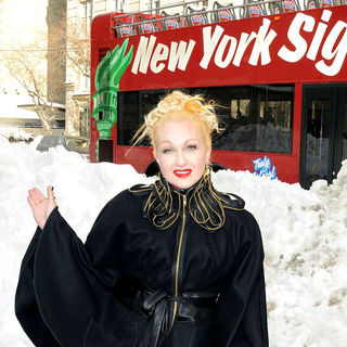 Cyndi Lauper in The Ribbon Cutting Ceremony for Gray Line New York's Ride of Fame