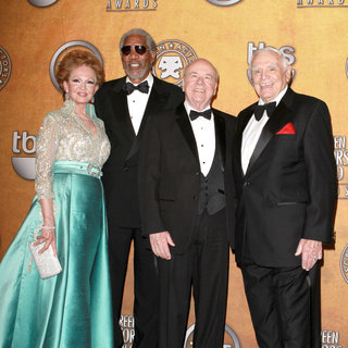 Tova Borgnine, Morgan Freeman, Tim Conway, Ernest Borgnine in The 17th Annual Screen Actors Guild Awards (SAG Awards 2011) - Press Room