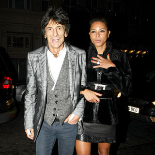 Ronnie Wood, Ana Araujo in Celebrities Arrive at Automat Restaurant to Attend A Pre-Bafta Dinner