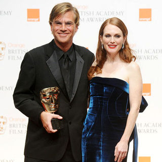 Aaron Sorkin, Julianne Moore in 2011 Orange British Academy Film Awards (BAFTAs) - Press Room