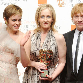 Emma Watson, J.K. Rowling, Rupert Grint in 2011 Orange British Academy Film Awards (BAFTAs) - Press Room