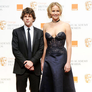 Jesse Eisenberg, Jennifer Lawrence in 2011 Orange British Academy Film Awards (BAFTAs) - Press Room