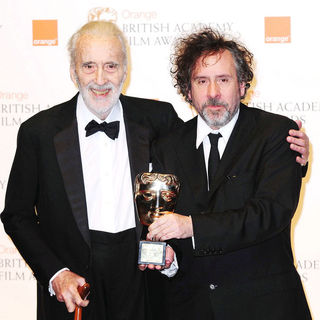 Christopher Lee, Tim Burton in 2011 Orange British Academy Film Awards (BAFTAs) - Press Room