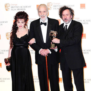 Helena Bonham Carter, Christopher Lee, Tim Burton in 2011 Orange British Academy Film Awards (BAFTAs) - Press Room