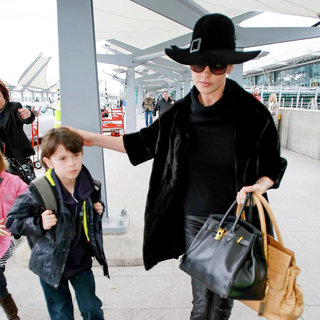 Catherine Zeta-Jones, Dylan Douglas in Catherine Zeta-Jones and Dylan Douglas Arriving at Heathrow Airport