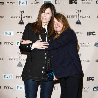 Catherine Keener, Nicole Holofcener in The 2011 Film Independent Spirit Awards - Press Room