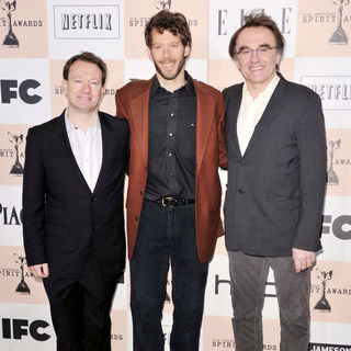 Simon Beaufoy, Aron Ralston, Danny Boyle in The 2011 Film Independent Spirit Awards - Arrivals