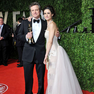 Colin Firth, Livia Giuggioli in 2011 Vanity Fair Oscar Party - Arrivals
