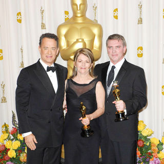 Tom Hanks, Karen O'Hara, Robert Stromberg in 83rd Annual Academy Awards (Oscars) - Press Room
