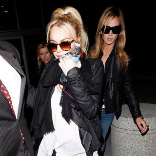 Lindsay Lohan, Lady Victoria Hervey in Lindsay Lohan at LAX Airport