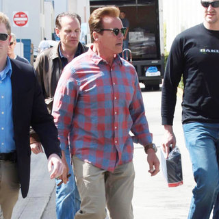 Arnold Schwarzenegger in Arnold Schwarzenegger Leaving Cafe Roma After Having Lunch