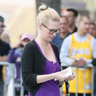January Jones in Celebrities Arrive at The Staples Center for Game 1 of The NBA Western Conference Semi-Finals