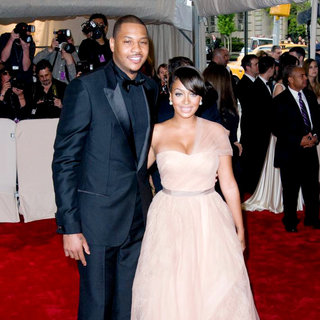Carmelo Anthony, La La Vazquez in Alexander McQueen: Savage Beauty Costume Institute Gala