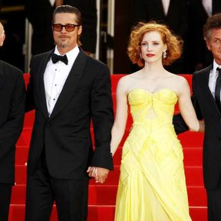 Gilles Jacob, Brad Pitt, Jessica Chastain, Sean Penn in 2011 Cannes International Film Festival - Day 6 - The Tree of Life - Premiere