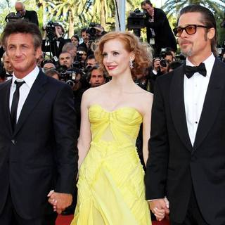Sean Penn, Jessica Chastain, Brad Pitt in 2011 Cannes International Film Festival - Day 6 - The Tree of Life - Premiere