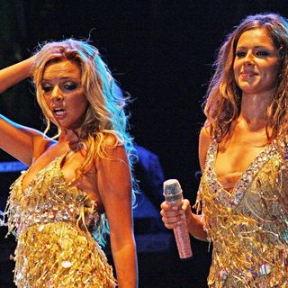 Nadine Coyle, Cheryl Cole in Girls Aloud Performing at Newmarket Racecourse