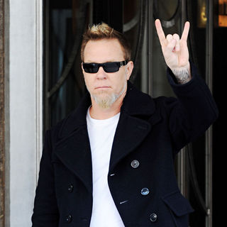 James Hetfield, Metallica in James Hetfield of Metallica greets fans as he leaves Claridge's