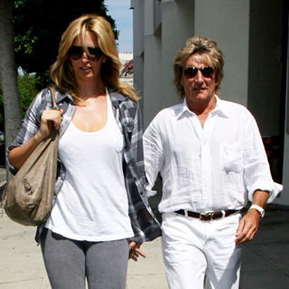 Rod Stewart and His Wife Outside of A Beverly Hills Doctor's Ooffice