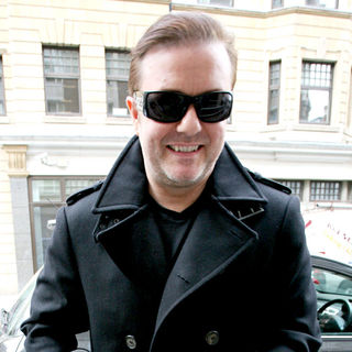 Ricky Gervais in Ricky Gervais outside BBC Radio 1 studios