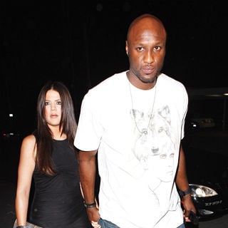 Khloe Kardashian, Lamar Odom in Khloe Kardashian and Lamar Odom outside Philippe restaurant for Kim Kardashian's birthday party