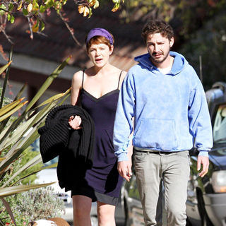 Shia LaBeouf, Carey Mulligan in Shia LaBeouf and his girlfriend Carey Mulligan walk LaBeouf's bulldog near his home in Hollywood