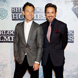 Jude Law, Robert Downey Jr. in Premiere of 'Sherlock Holmes'
