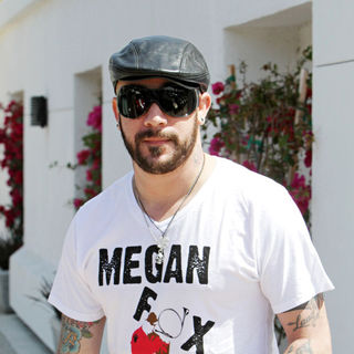 A.J. McLean, Backstreet Boys in A.J. McLean seen wearing a t shirt with the slogan 'Megan Fox Hunting' while out in Malibu