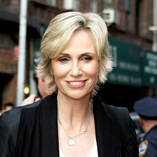 Jane Lynch outside the Ed Sullivan Theater for the 'Late Show With David Letterman'