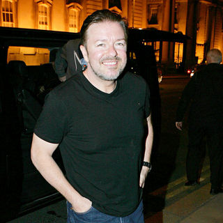 Ricky Gervais in Ricky Gervais arriving at The Merrion Hotel following his show at the O2 Arena