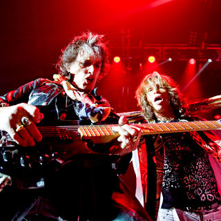 Joe Perry, Steven Tyler in Aerosmith Performing Live in Concert at O2 Arena