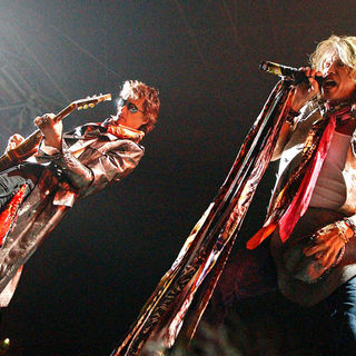 Joe Perry, Steven Tyler in Aerosmith performing live in concert