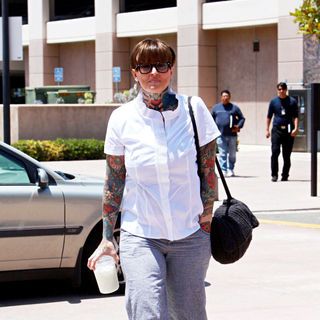Janine Lindemulder in Outside The Orange County Superior Court for The Final Day of Testimony