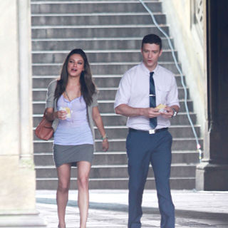 Mila Kunis, Justin Timberlake in On The Set of New Film 'Friends with Benefits'