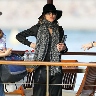 Madonna Seen on A Boat with A Production Crew as They Work on Preparations for A New Movie