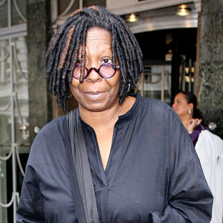 Whoopi Goldberg in Whoopi Goldberg Leaving Claridges Hotel Wearing A Black Messenger Bag