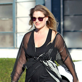 Ali Larter in Ali Larter Showing of Her Belly Bump Seen Leaving A Office Building with A Friend