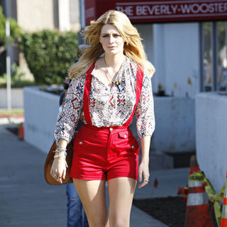 Mischa Barton Is Followed by A Camera Crew While Out and About