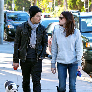 Joe Jonas, Ashley Greene in Joe Jonas and Ashley Greene Take Their Dogs for A Walk