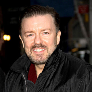 Ricky Gervais in Ricky Gervais Outside The Ed Sullivan Theater for 'The Late Show with David Letterman'