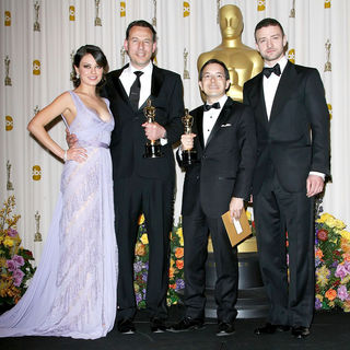 Mila Kunis, Andrew Ruhemann, Shaun Tan, Justin Timberlake in 83rd Annual Academy Awards (Oscars) - Press Room