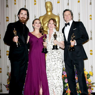 Christian Bale, Natalie Portman, Melissa Leo, Colin Firth in 83rd Annual Academy Awards (Oscars) - Press Room