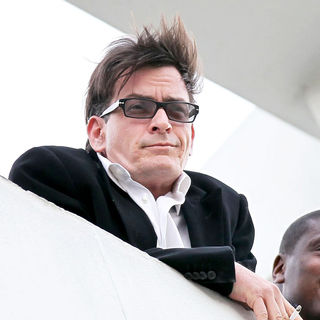 Charlie Sheen Continues on His Whirlwind Media Tour and Stops on The Roof of The Live Nation Office - wenn5619632