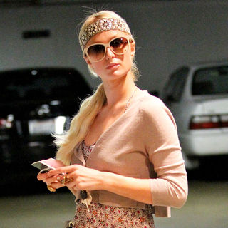 Paris Hilton in Paris Hilton Shopping in Beverly Hills Wearing A Headband and A Long Dress