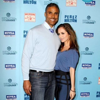 Rick Fox, Eliza Dushku in 'Perez Hilton's Blue Ball 33rd Birthday Celebration' - Arrivals