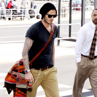 David Beckham in Arriving at Washington Reagan National Airport to Catch a Flight