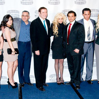 John Gotti Jr., John Travolta, Victoria Gotti, Carmine Gotti Agnello, Frank Gotti, Lindsay Lohan in 'Gotti: Three Generations' Press Conference