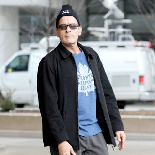 Charlie Sheen Departs His Hotel and Proceeds to Walk to Massey Hall - wenn5638944
