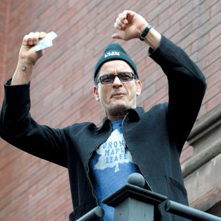 Charlie Sheen Addresses His Supporters at Massey Hall After The BiPolar Awareness Walk - wenn5638955