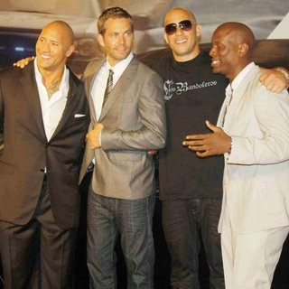 The Rock, Paul Walker, Vin Diesel, Tyrese Gibson in 'Fast and Furious Five' Brazilian Premiere