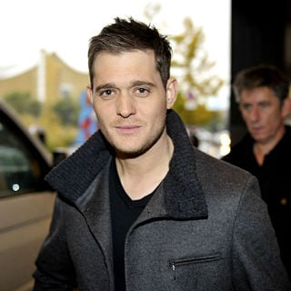 Michael Buble in Michael Buble signing autographs outside Hyatt Hotel